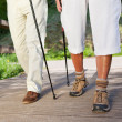 Couple Walking On Boardwalk While Hiking — Stock Photo