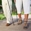 Couple Walking On Boardwalk While Hiking — Stock Photo