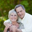 Happy senior couple hugging and smiling — Stock Photo