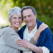 Senior Couple Embracing In Park — Stock Photo