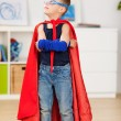 Young boy dresses up as a superhero — Stock Photo