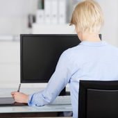 Creative Office Worker Looking At Computer Display — Stock Photo