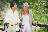 Senior Woman Trekking With Husband In Forest — Stock Photo