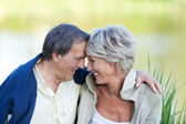 Sweet elderly couple in love sitting near the lake — Stock Photo