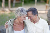 Senior Couple With Head To Head Smiling In Park — Stock Photo