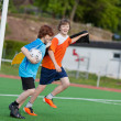Youngsters celebrating on soccer field — Stock Photo #27099963
