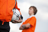 Two boys at soccer training — Stock Photo