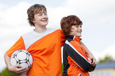 Two team mates at soccer training — Stock Photo