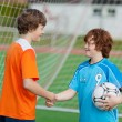 Boys Shaking Hands Against Net On Soccer Field — Stock Photo #27100999