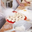 Preparation of bread rolls — Stock Photo
