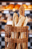 Crusty fresh baked bread in the bakery — Stock Photo