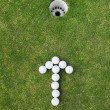 Golf balls arranged as arrow sign — Fotografia Stock  #27160529