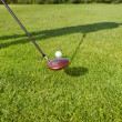 Stock Photo: Golfer's shadow with golf club and ball