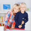 Two mischievous young sisters — Stock Photo