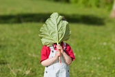 Boy Holding Leaf In Front Of Face In Yard — Stock Photo