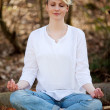 Beautiful Woman Meditating In Forest — Stock Photo
