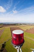 Obstruction Light On Wind Turbine's Farm — Stock Photo