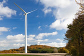 Wind turbine and fall forest — Stock Photo