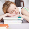Woman Sleeping On Stack Of Books — Stock Photo