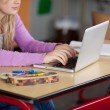 Midsection Of Female Student Using Laptop At Desk — Stock Photo