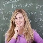 Girl With Hand On Chin Against Spanish Words Written On Blackboa — Stock Photo #27314667