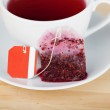 Tea Bag And Cup On Wooden Table — Stock Photo