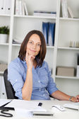 Businesswoman With Hand On Chin — Stock Photo