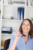Businesswoman Pointing While Looking Up — Stock Photo