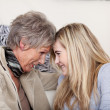 Great chemistry of grandmother and granddaughter — Stock Photo