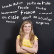 Stock Photo: Confident Smiling Teenage Girl Against French Vocabulary