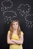 Skeptical Teenage Girl Looking At Rain Clouds — Stock Photo