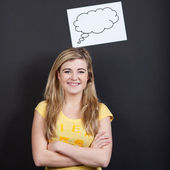 Smiling Blond Teenage Girl With Thought Bubble — Stock Photo
