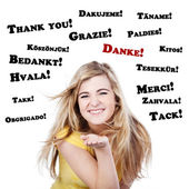 Happy And Thankful Teenage Girl — Stock Photo