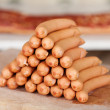 A stack of frankfurter sausages — Foto Stock