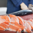 Stacked salmon fillets — Stock Photo
