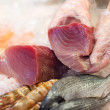 Hands Keeping Slice Of Fish For Preservation — Stock Photo