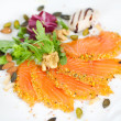 Tasty salmon fillets with walnuts — Stock Photo