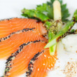smoked salmon with wasabi — Stock Photo