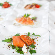 Salmon Dishes Displayed In Restaurant — Stock Photo