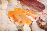 Fish fillets in display — Stock Photo