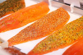 Sliced Fishes Arranged In Display Cabinet At Store — Stock Photo