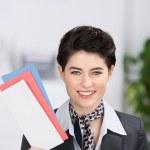 Receptionist Holding Traveling Documents — Stock Photo