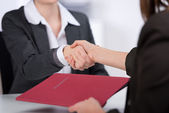 Candidate Shaking Hands With Businesswoman — Stock Photo