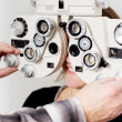 Eye measurement at eye clinic — Stock Photo