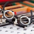 Eye Examination Glasses On Snellen Chart — 图库照片