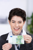 Businesswoman Holding Hundred Euros Banknote In Office — Stock Photo