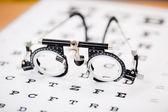 Eye Test Glasses On Snellen Chart — Stock Photo