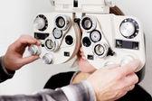 Eye measurement at eye clinic — Stock Photo