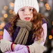 Stock Photo: Shivering cold young girl