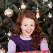 Laughing little girl holding a Christmas gift — Stok fotoğraf